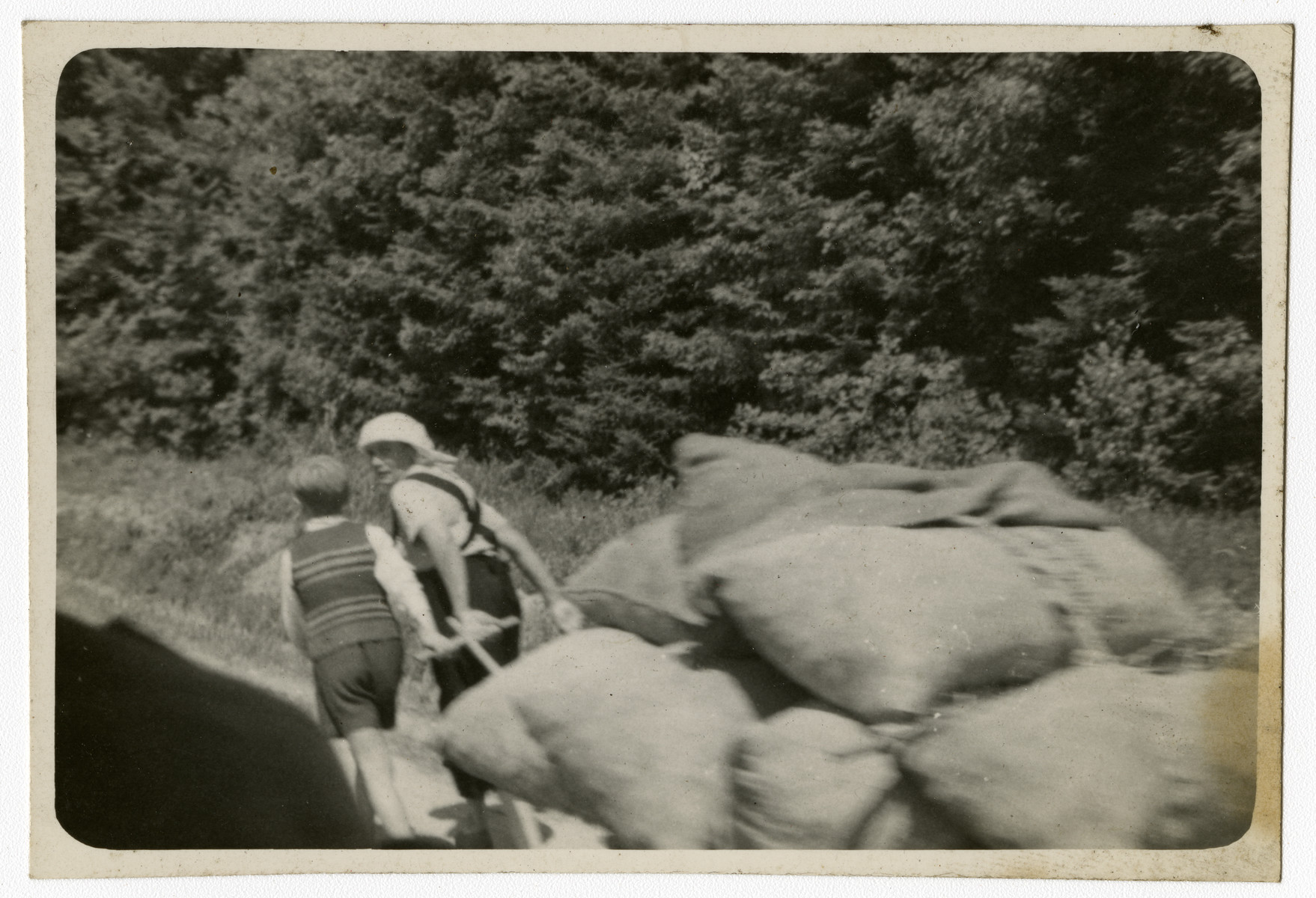 """Two  refugees haul a cart of bundles on their way home.  Original caption reads, """"Refugees, 1945."""""""