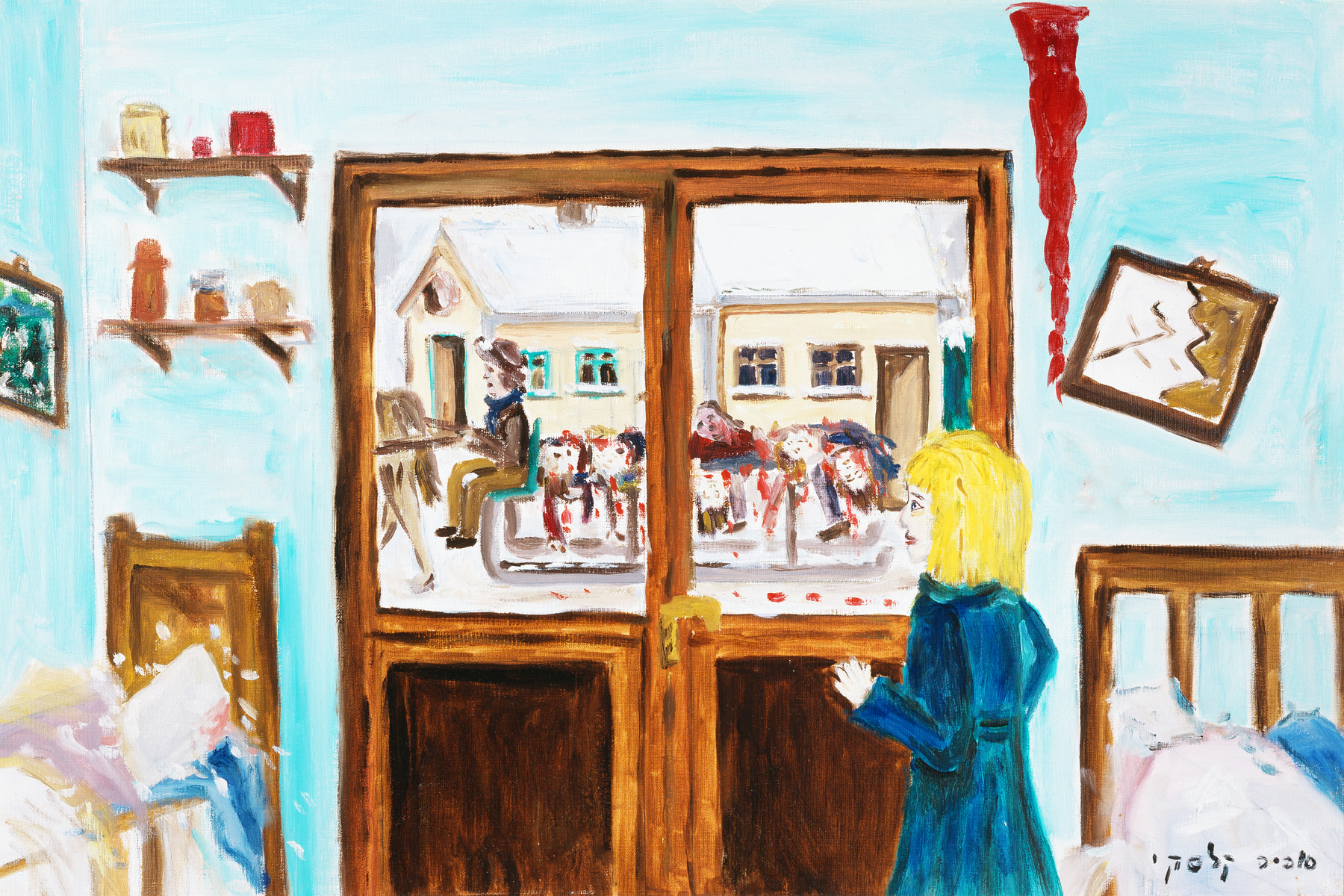 "A painting by artist Sophia Kalski depicting the aftermath of the aktion in Lwow.    The artist writes ""On January 7, 1943...I see through the window people picking up corpses to bring them to a mass grave. The collection of the corpses lasts a day or two approximately."""