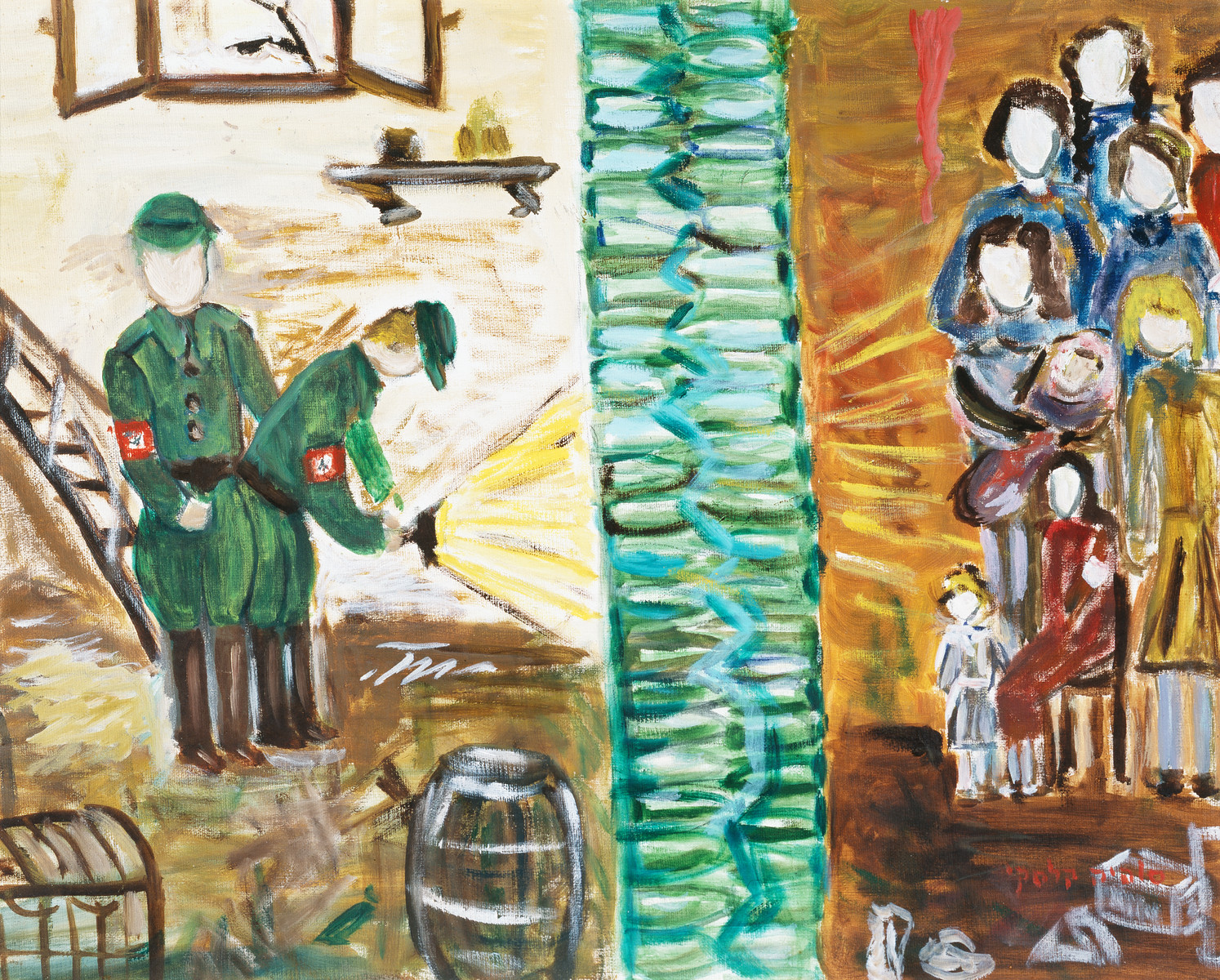 "A painting by artist Sophia Kalski depicting the aktion in Lwow on the 5th and 6th of January, 1943.    The artist writes ""I am hiding in a bunker (basement) among strangers without my parents. The bunker is divided into two parts and the dividing wall is made of thick green bottles. The flashlight that the Germans are holding while they are searching for Jews in the bunker brings terrible fright on me and it seems to me that they will discover in a moment and they will take me away to shoot me, and I have no one to trust and to rely on to take me out of this and to give me some reassurances."""