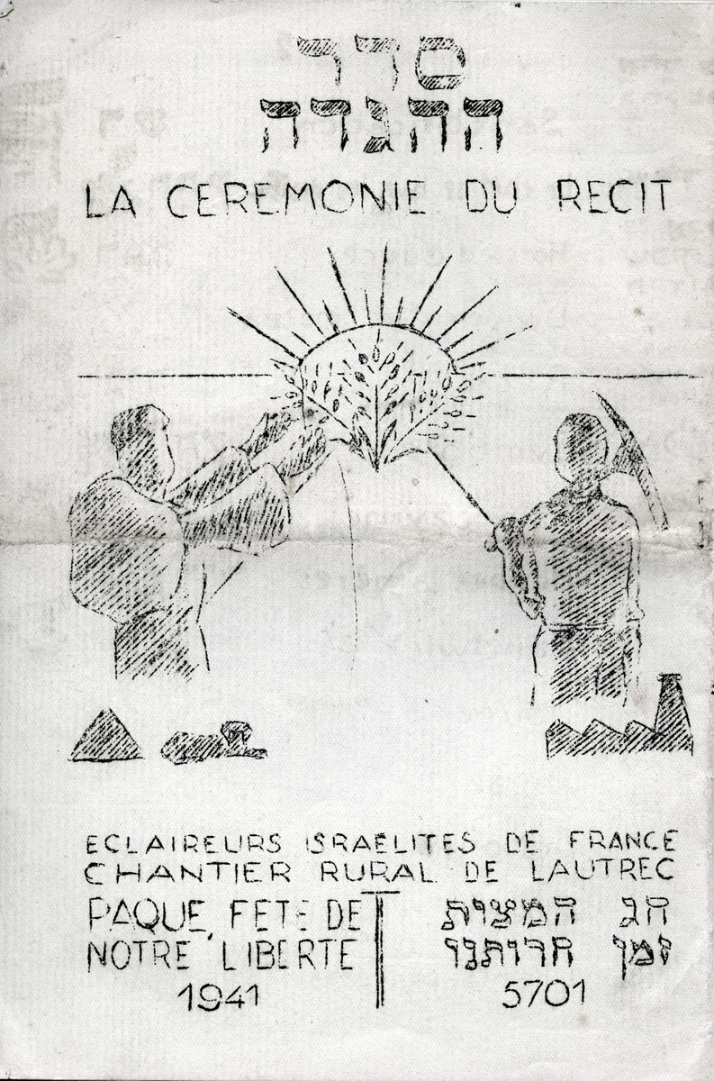 "Title page of a Haggadah printed for use in the Eclaireurs Israelites de France scout group on Passover 1941 in the rural working site of Lautrec, Tarn. The caption in Hebrew and in French reads ""Eclaireurs Israelites de France - Lautrec Rural Work Group - Passover, celebration of our freedom - 1941/5701"""