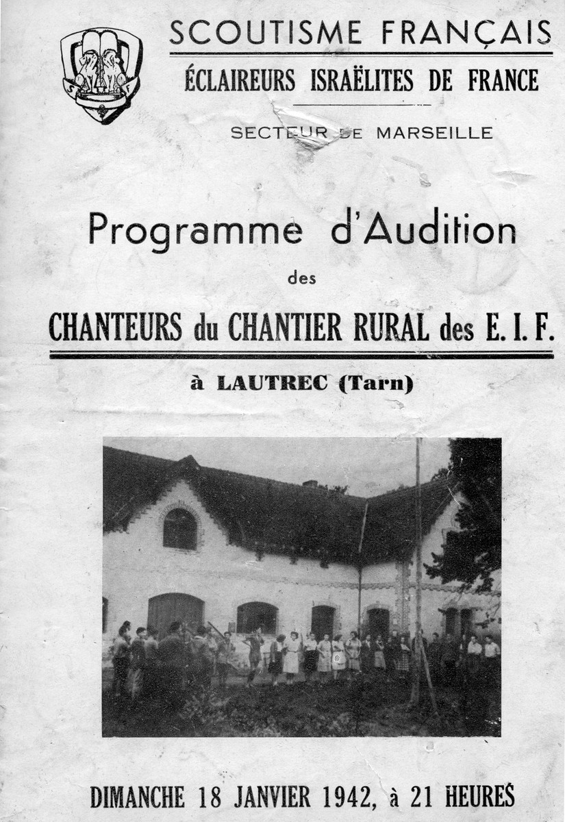 "Poster advertizing a choir concert by the scouts group Eclaireurs Israelites de France (E.I.F.). The message in French reads ""Concert program of the E.I.F. rural working site choir  of Lautrec, Tarn"". The choir leader was Leo Cohn, father of the donor."