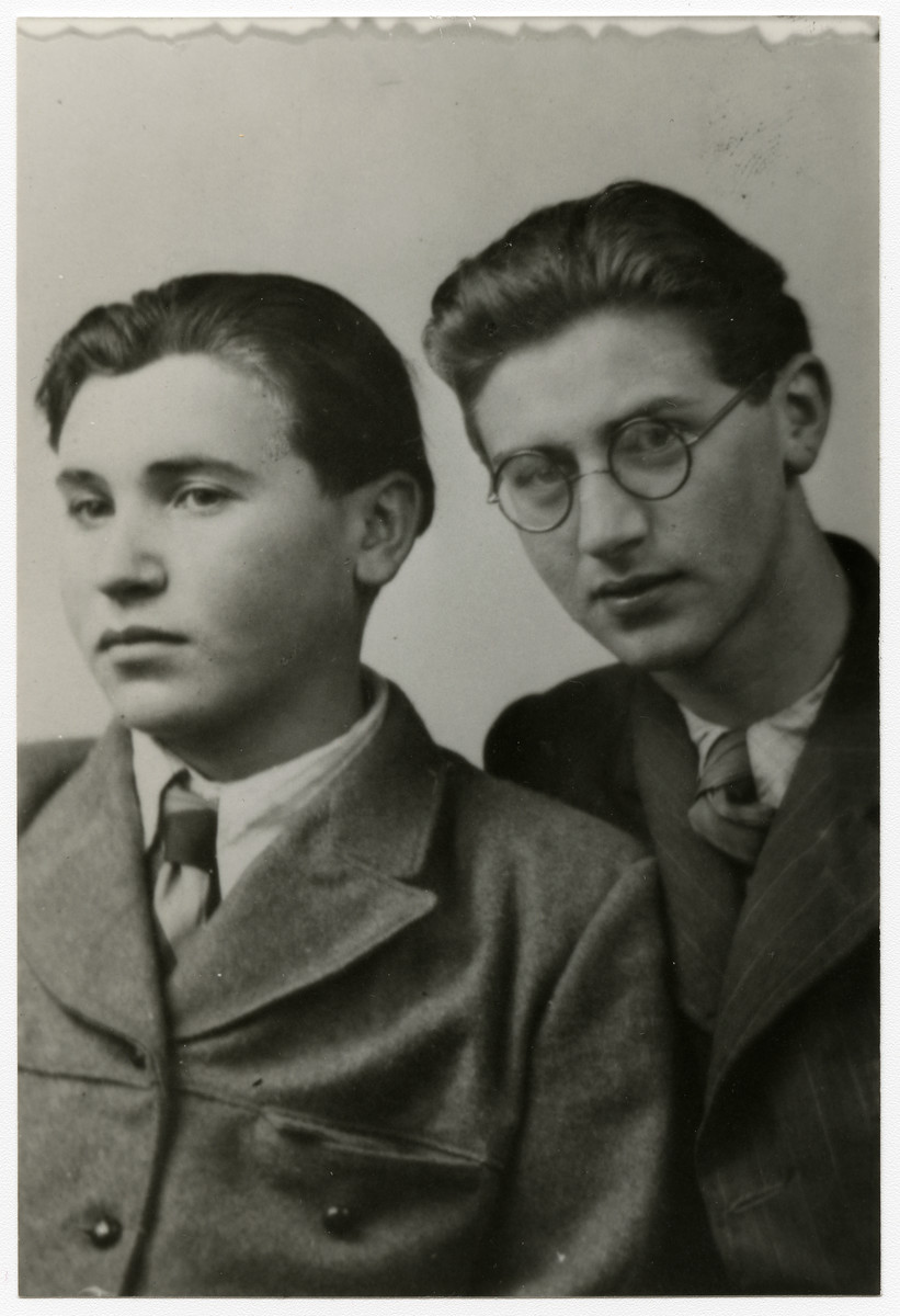 Studio portrait of Michael Hersh (left) and a friend in an unidentified displaced persons camp.