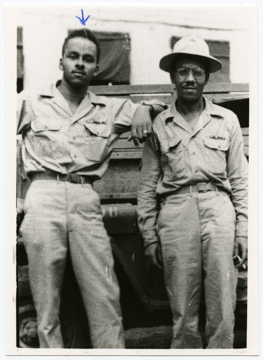 Portrait of Leon Bass (left) and another Afro-American soldier n U.S. Army uniform during the Second World War.