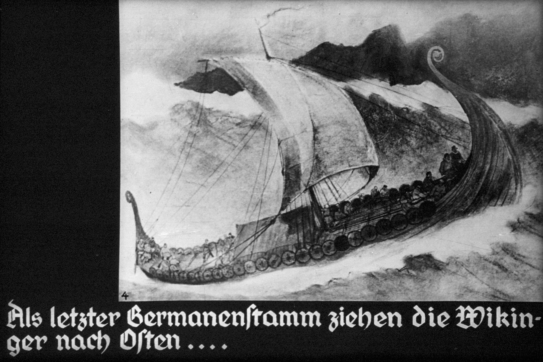 """4th Nazi propaganda slide of a Hitler Youth educational presentation entitled """"German Achievements in the East"""" (G 2)  Als letzter Germanenstamm ziehen die Wikinger nach Osten... //  As the last German tribe, the Vikings move to the East..."""