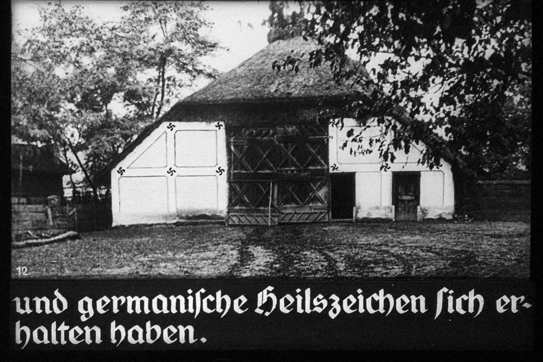 "12th Nazi propaganda slide of a Hitler Youth educational presentation entitled ""German Achievements in the East"" (G 2)  und germanische Heilszeichen sich erhalten haben. // and Germanic healing characters have been preserved."