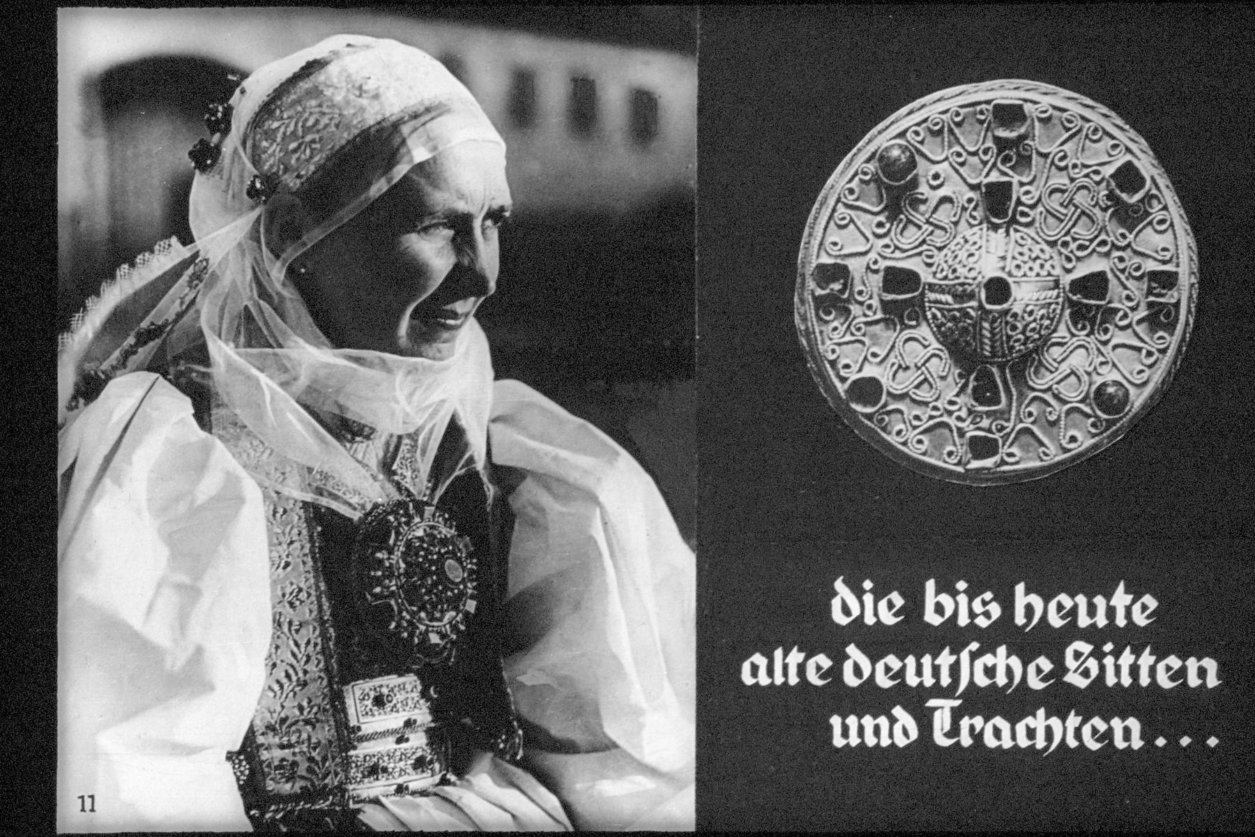 "11th Nazi propaganda slide of a Hitler Youth educational presentation entitled ""German Achievements in the East"" (G 2)  die bis heute alte deutsch Sitten und Trachten... // German customs and costumes to this day ..."