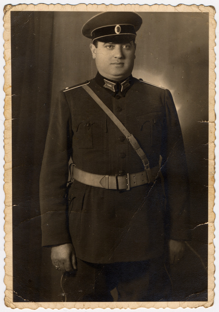 Portrait of Nissim Farhi, a Bulgarian-Jewish officer serving in a forced labor battalion.    In Bulgaria, Jewish army officers were allowed to serve in labor brigades as officers in uniform.