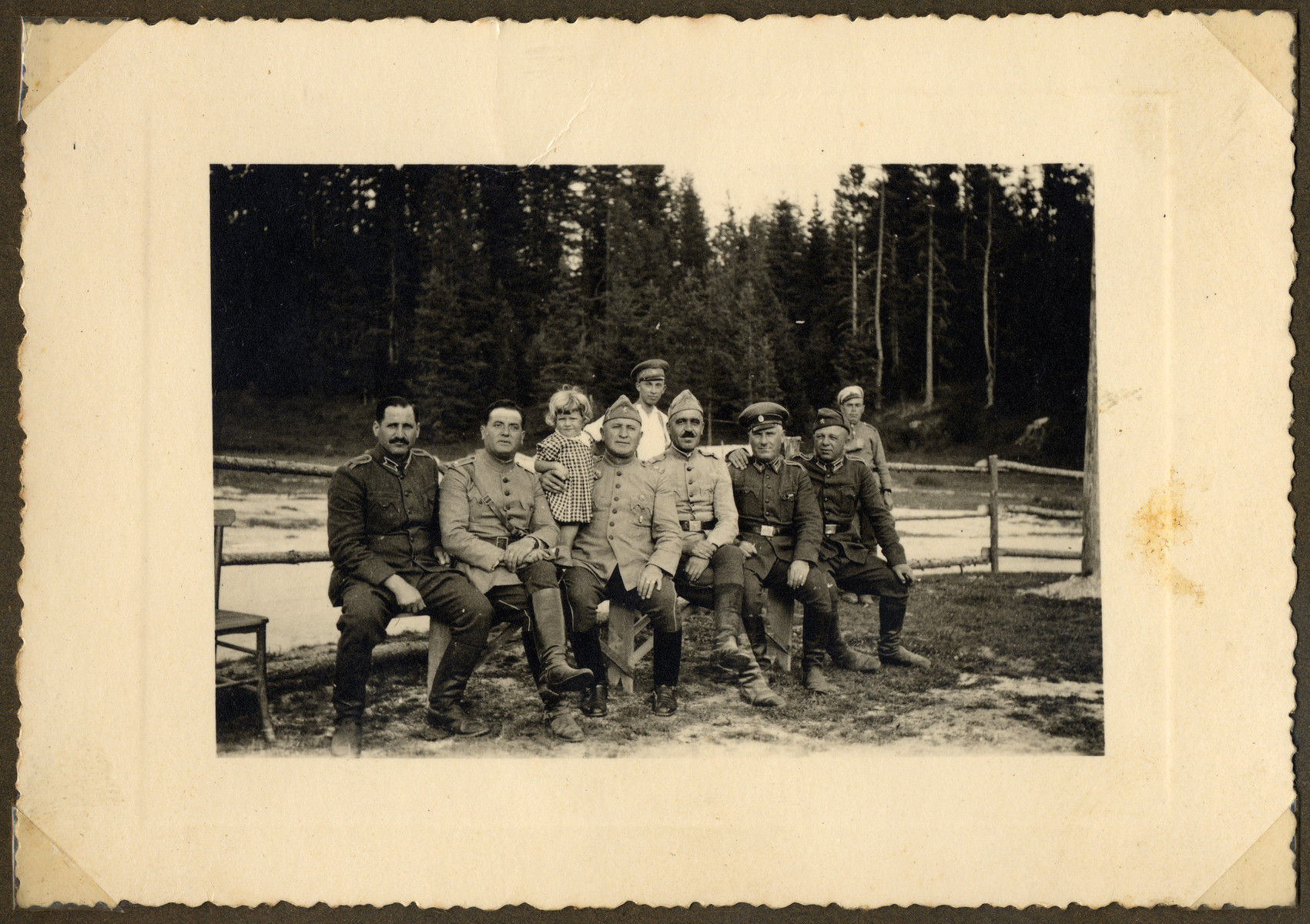 Bulgarian officers at the site of a forced labor battalion.  In Bulgaria, Jewish army officers were allowed to serve as officers in uniform.  Pictured second from the left is Nissim Farhi.