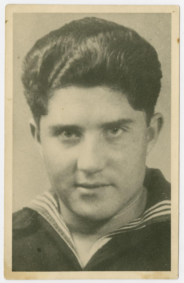 Portrait of survivor Aron Struczanski taken in the postwar period.