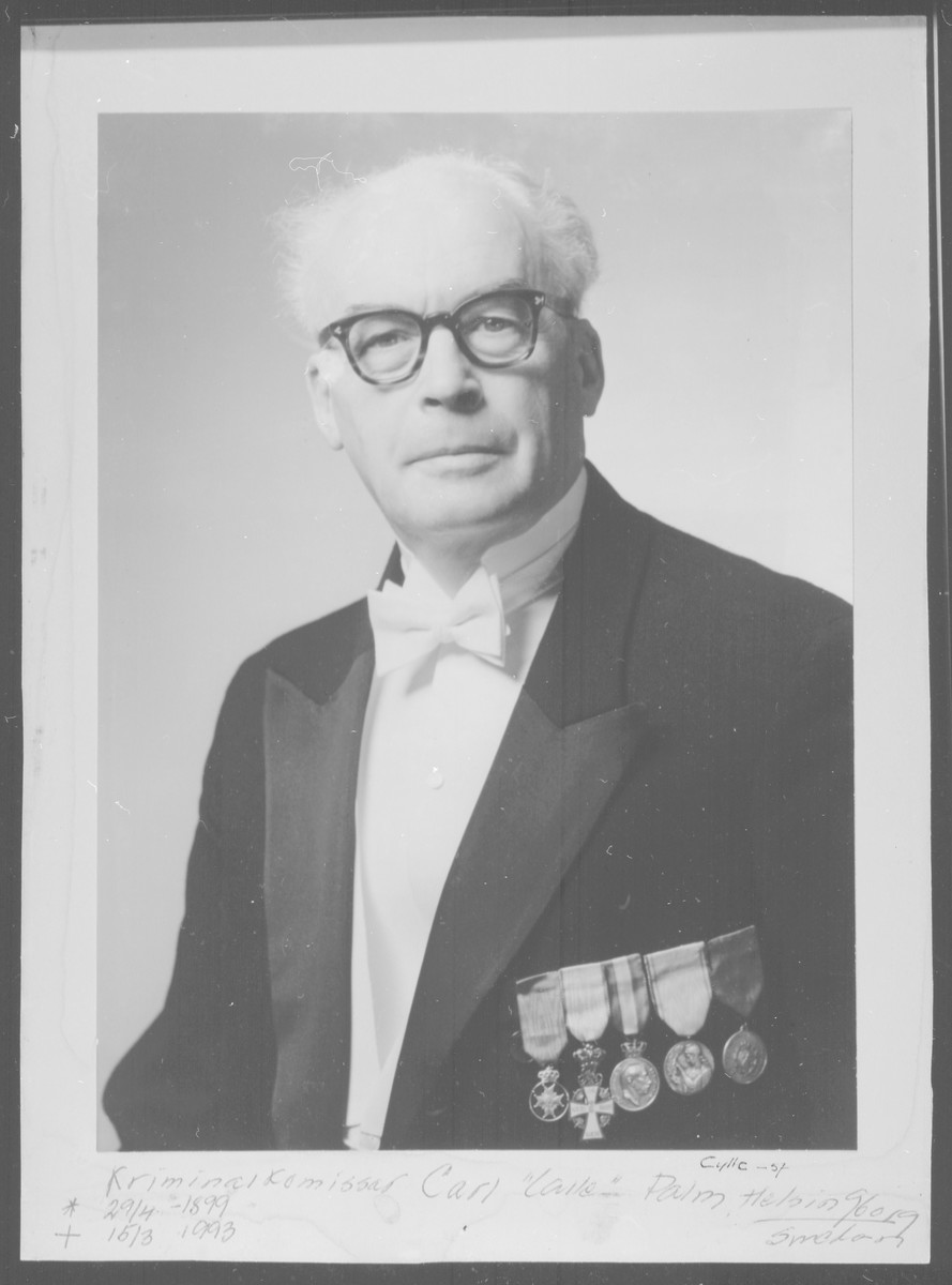 Postwar studio portrait of Kriminal Komissar Carl Palm who was the Swedish contact for the Danish rescue and resistance group, the Elsinore Sewing Club.