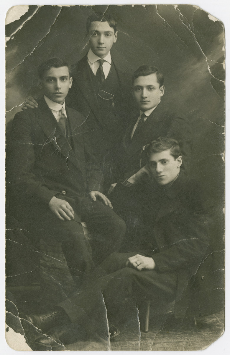 Jona Struczanski (lower right) is photographed with friends prior to his wedding.