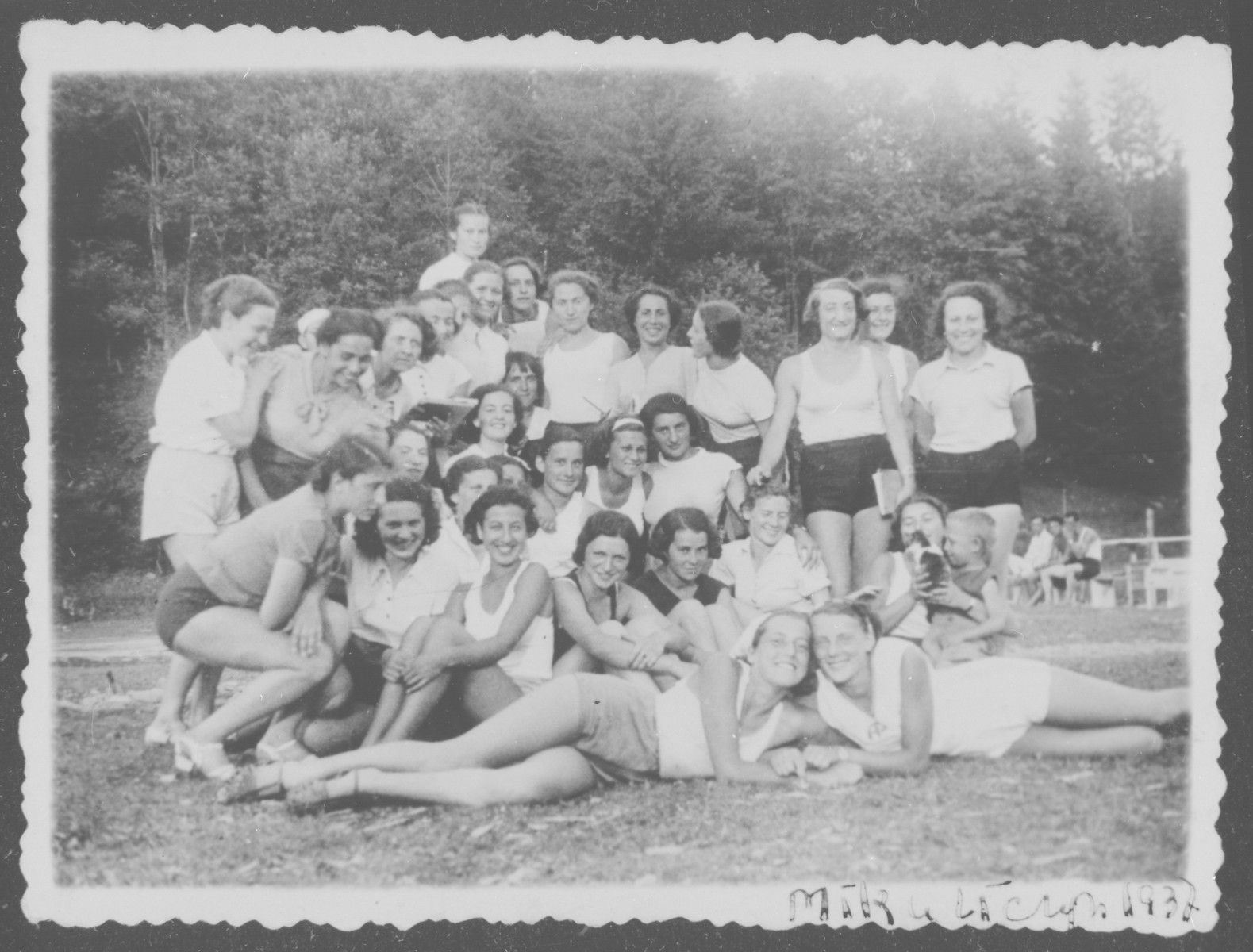 Group portrait of girls in a sports camp.  Among those pictured is Liza Grochowska.