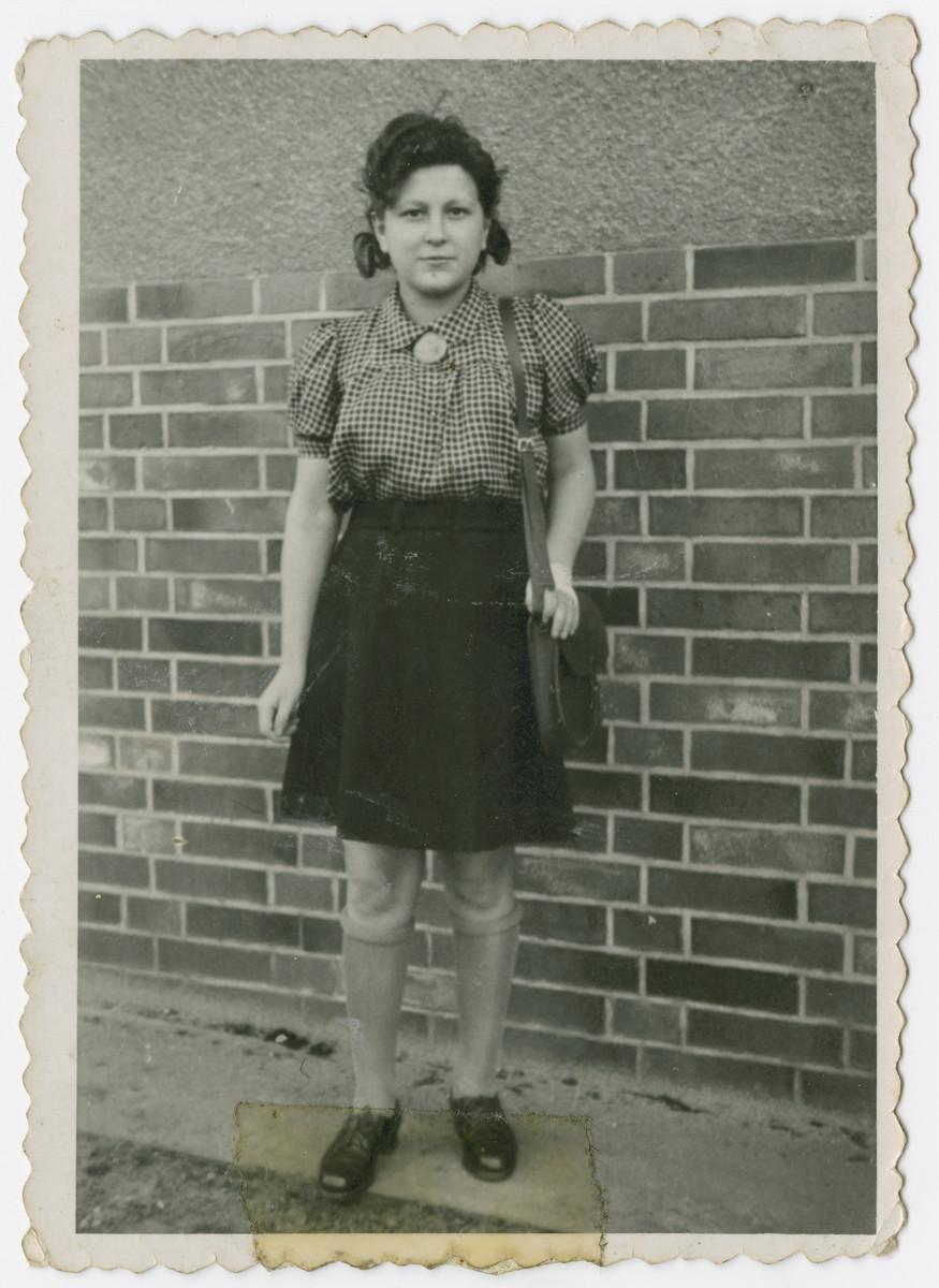 Gucia Widawska following her liberation at Bergen Belsen.