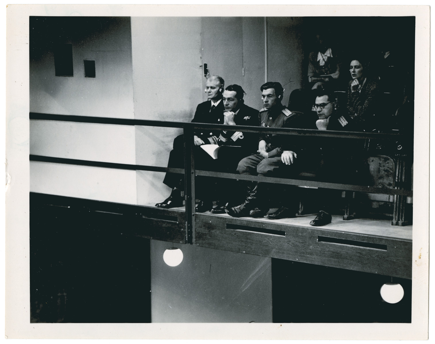 Military observers follow the proceedings of the International Military Tribunal in Nuremberg.