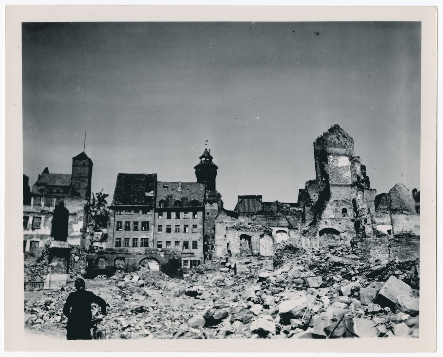 Photogragh of bomb damaged buildings, possibly in Nuremberg, Germany.