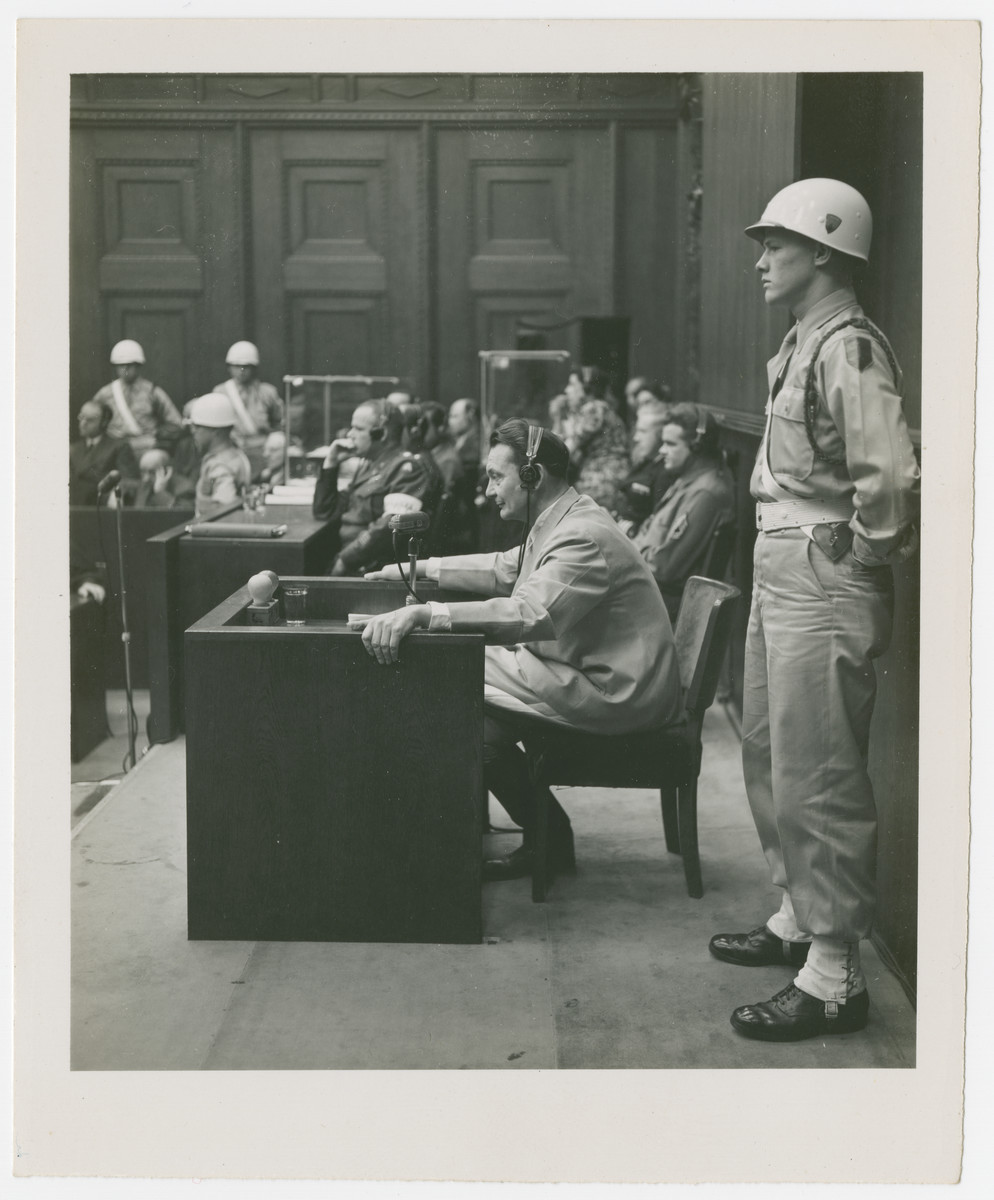 Hermann Goering testifies in his defense at the International Military Tribunal in Nuremberg.