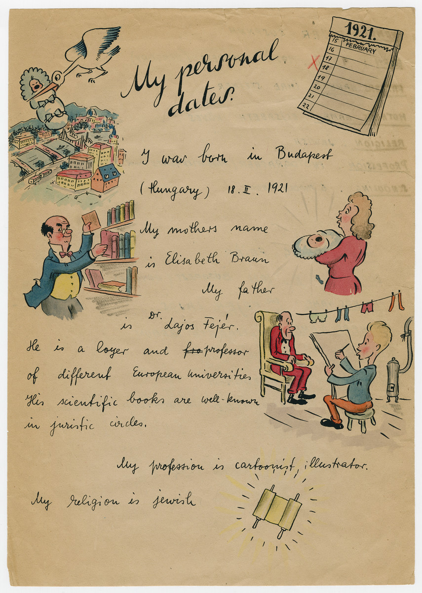 Illustrated capsule biography of survivor and cartoonist Georg Fejer compiled to support his application for an American immigration visa.