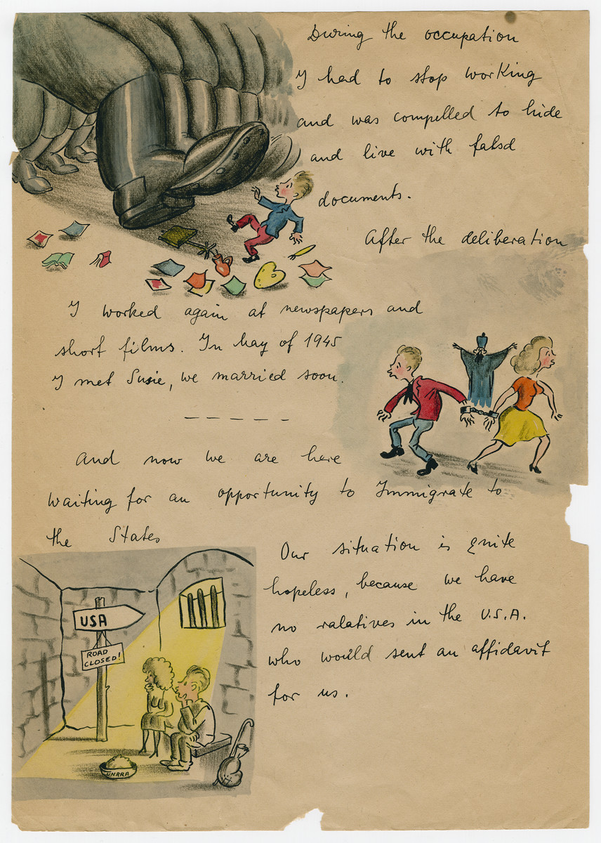 Page three of an illustrated capsule biography of survivor and cartoonist Georg Fejer compiled to support his application for an American immigration visa.