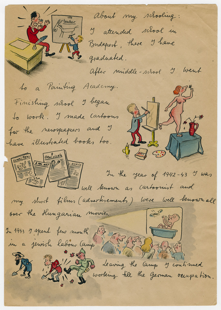 Page two of an illustrated capsule biography of survivor and cartoonist Georg Fejer compiled to support his application for an American immigration visa.