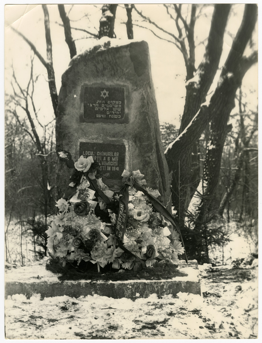 View of the monument in the Kosoutsi woods the 6000 Jews from Soroca who were murdered in 1941.