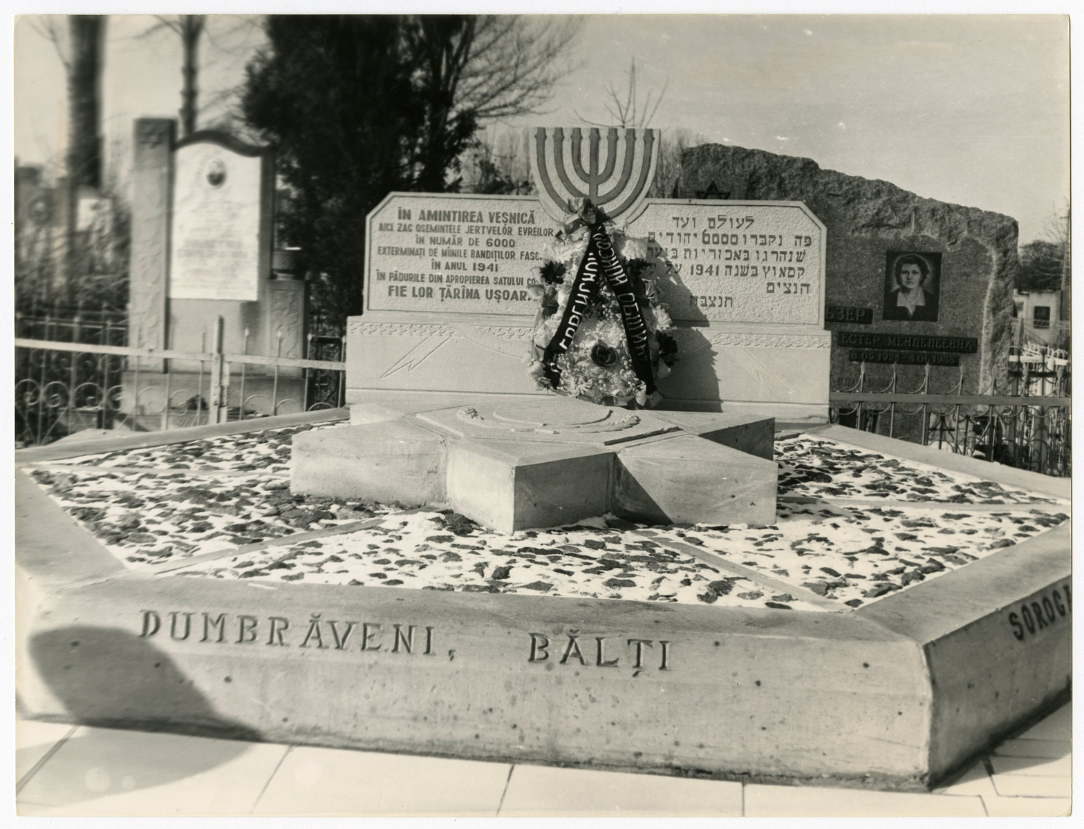 View of the monument to the 6,000 Jewish victims from Soroca who were killed in 1941.