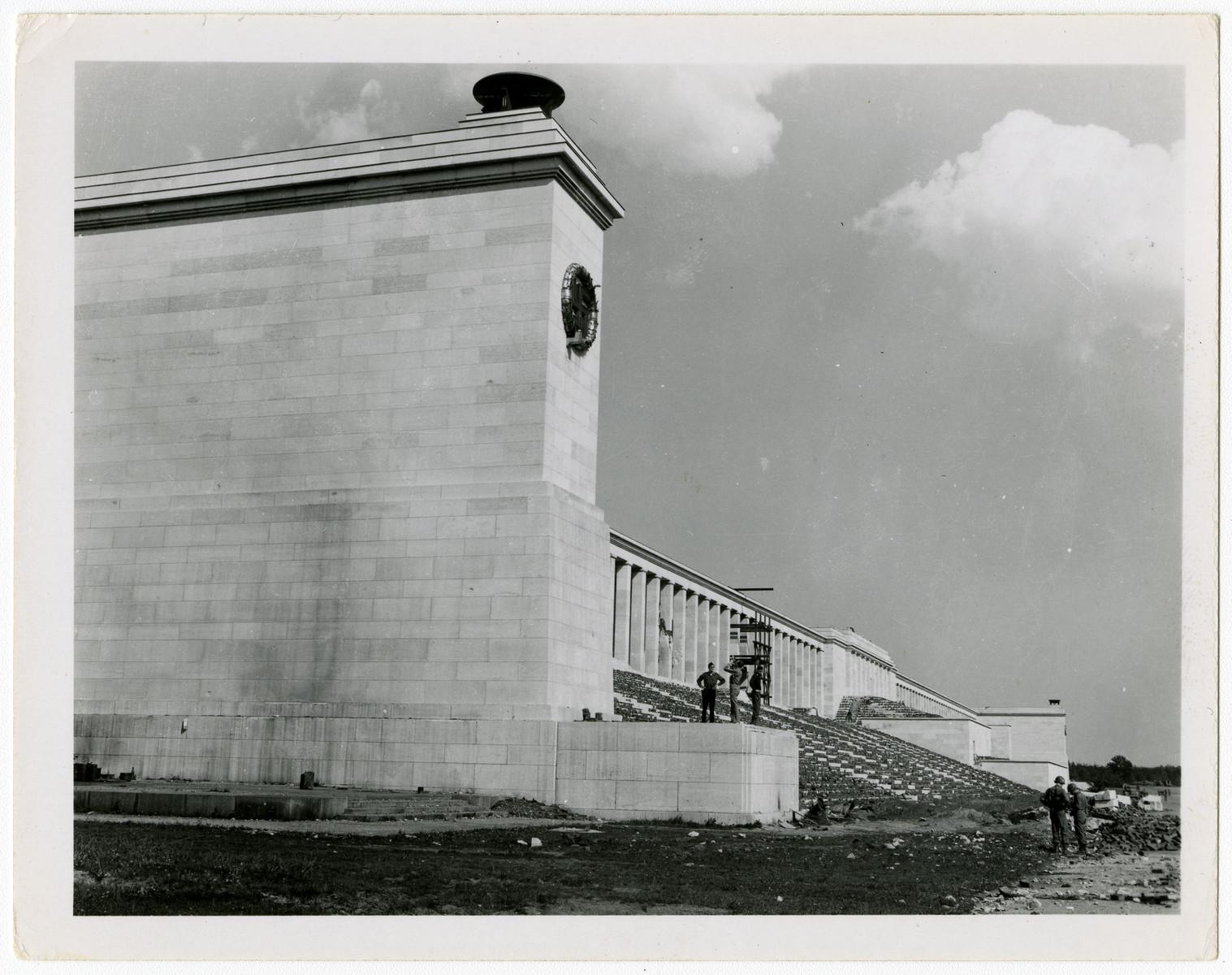 "View of the former Nazi Olympic stadium in Nuremberg.  Original caption reads, ""Nuremberg Stadium, '45."""