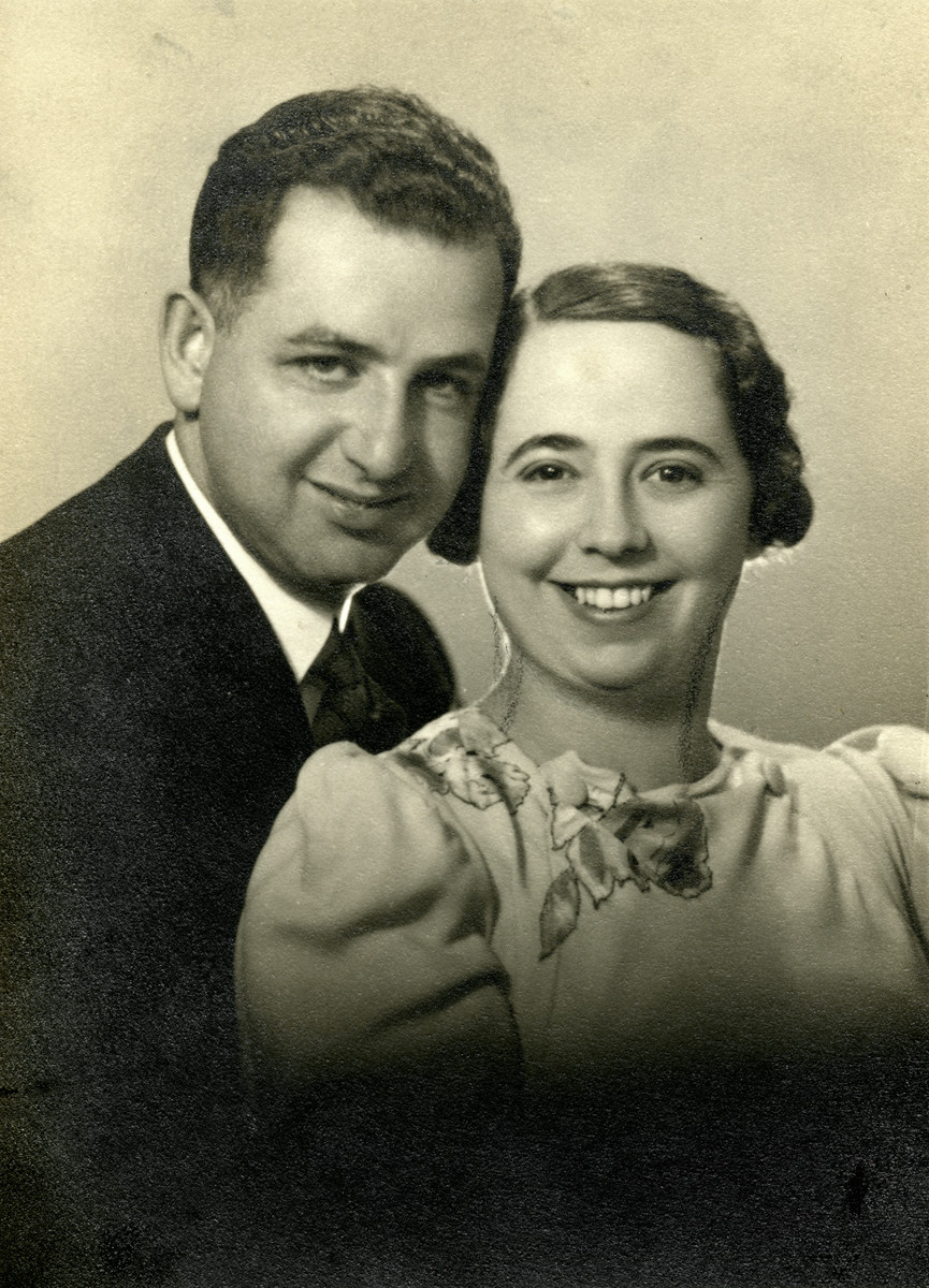 Studio portrait of Dragutin and Blanka Buchler on the occasion of their first wedding anniversary.