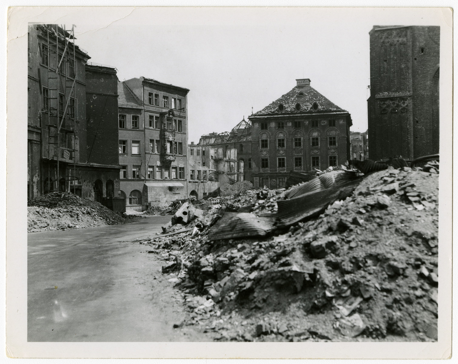 "View of a bombed out street in Munich.  Original caption reads, ""This was Munich, May '45."""