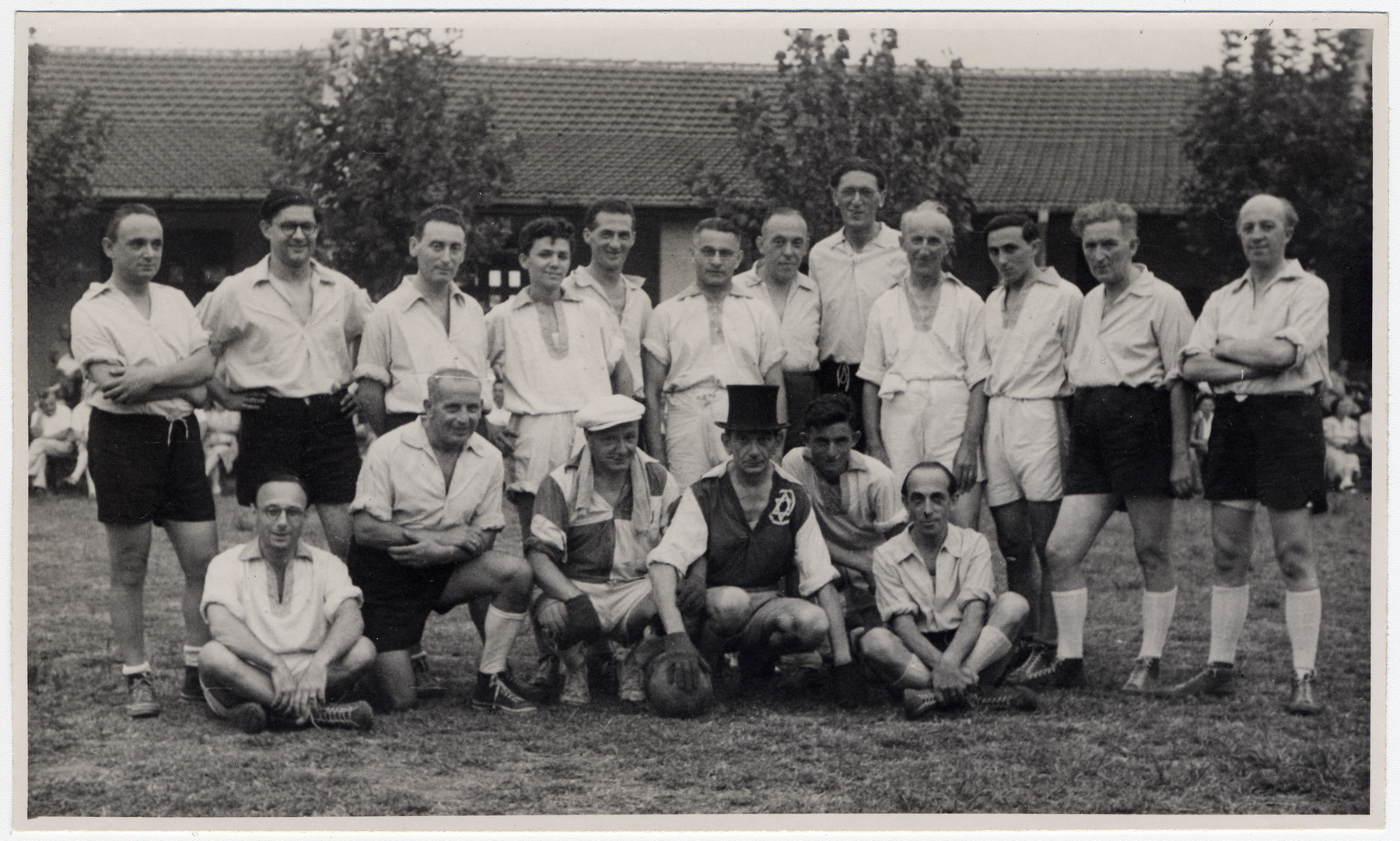 Group portrait of members of a Jewish soccer team in Shanghai.