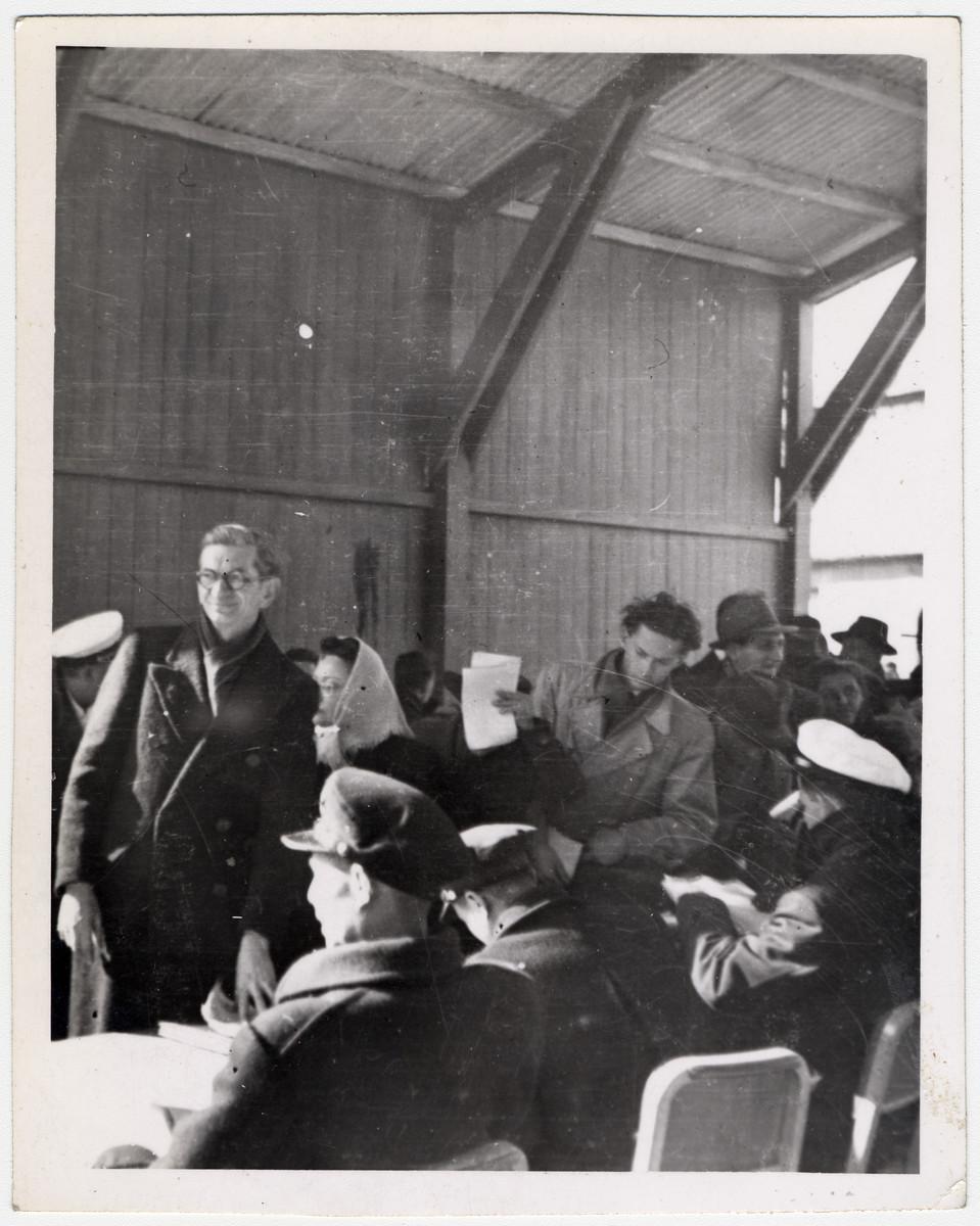 Jewish emigres are processed in Shanghai prior to their departure.
