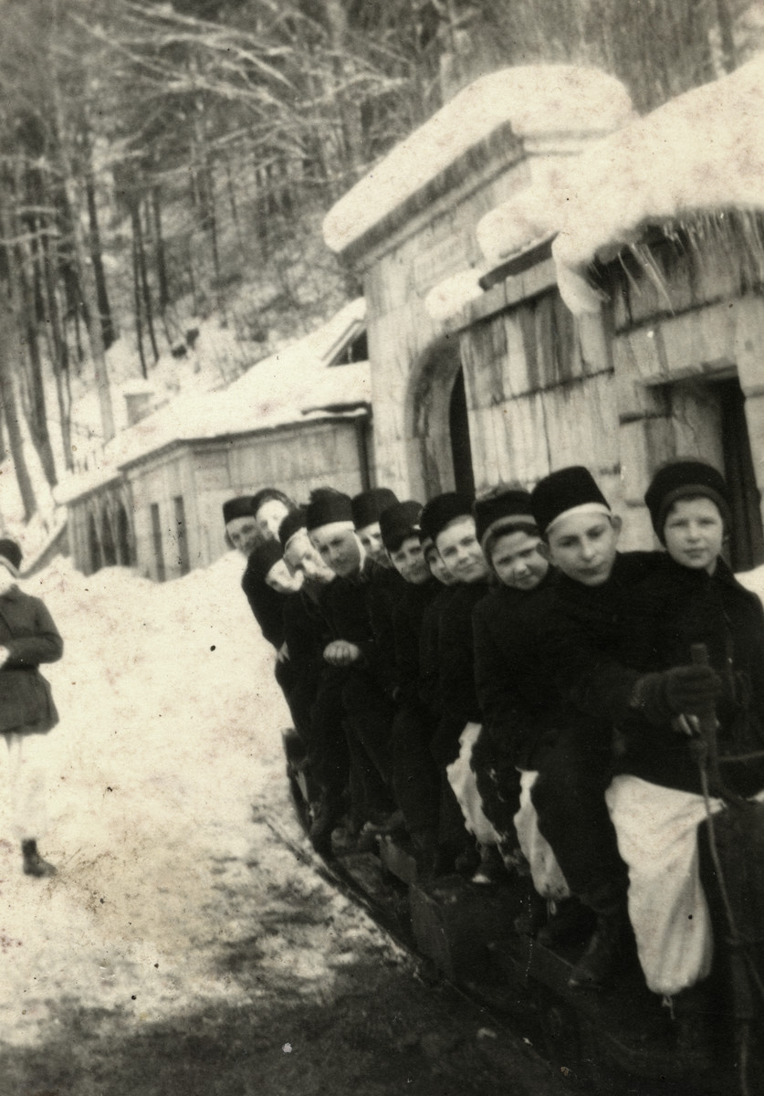 School children, probably from the Bad Reichenhall displaced persons' camp go sledding in Berchtesdaen.  Ziomek Hammer is pictured fourth from the right.