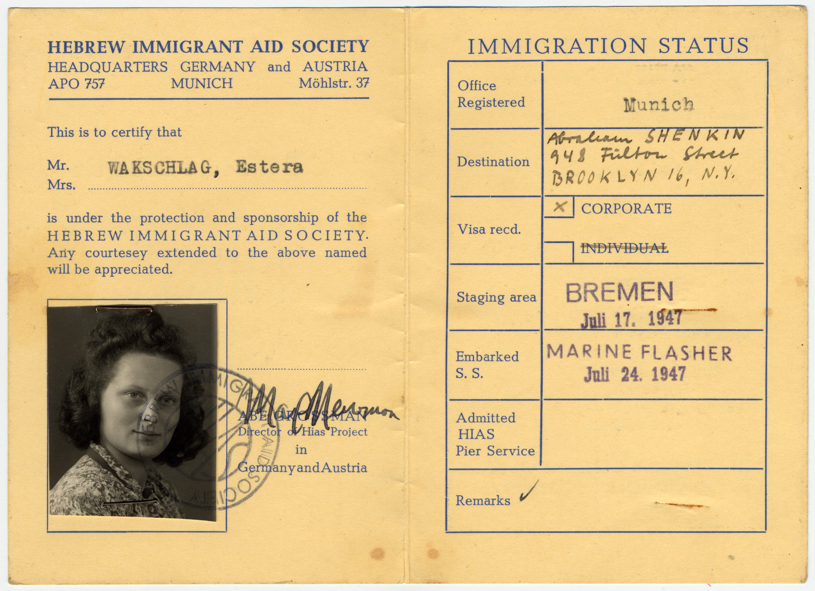 HIAS immigration certificate issued to Estera Wakschlag prior to her immigration to the United States en board the Marine Flasher.