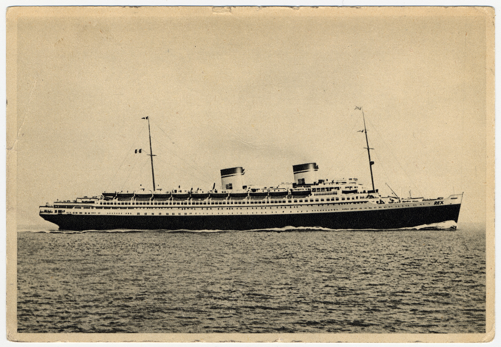 """The """"SS Rex,"""" the Italian liner which transported the Wiener-Rattner family from Genoa to New York."""