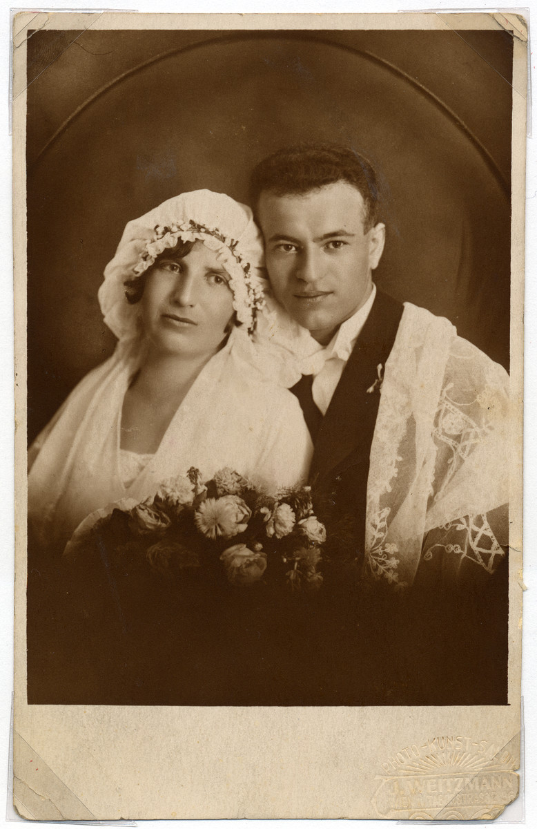 Wedding portrait of a Deaf Austrian Jewish couple.  Pictured are Hilda and Isadore Rattner.