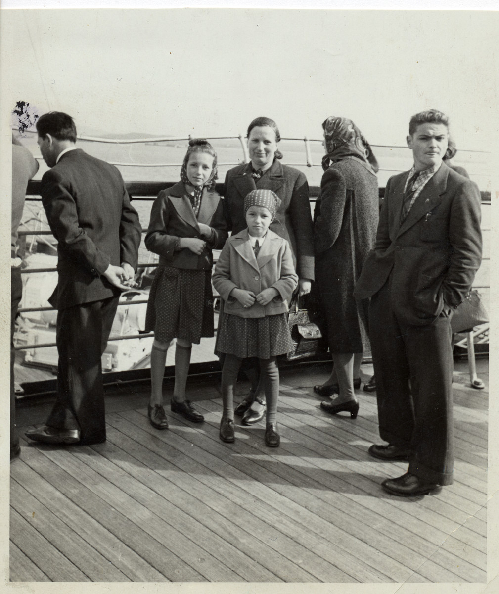 "A Deaf Austrian Jewish family on board the ""SS Rex,"" en route from Genoa to New York.  Among those pictured are Hilda Wiener Rattner (center) and her daughters Nelly (left) and Lilly (right)."