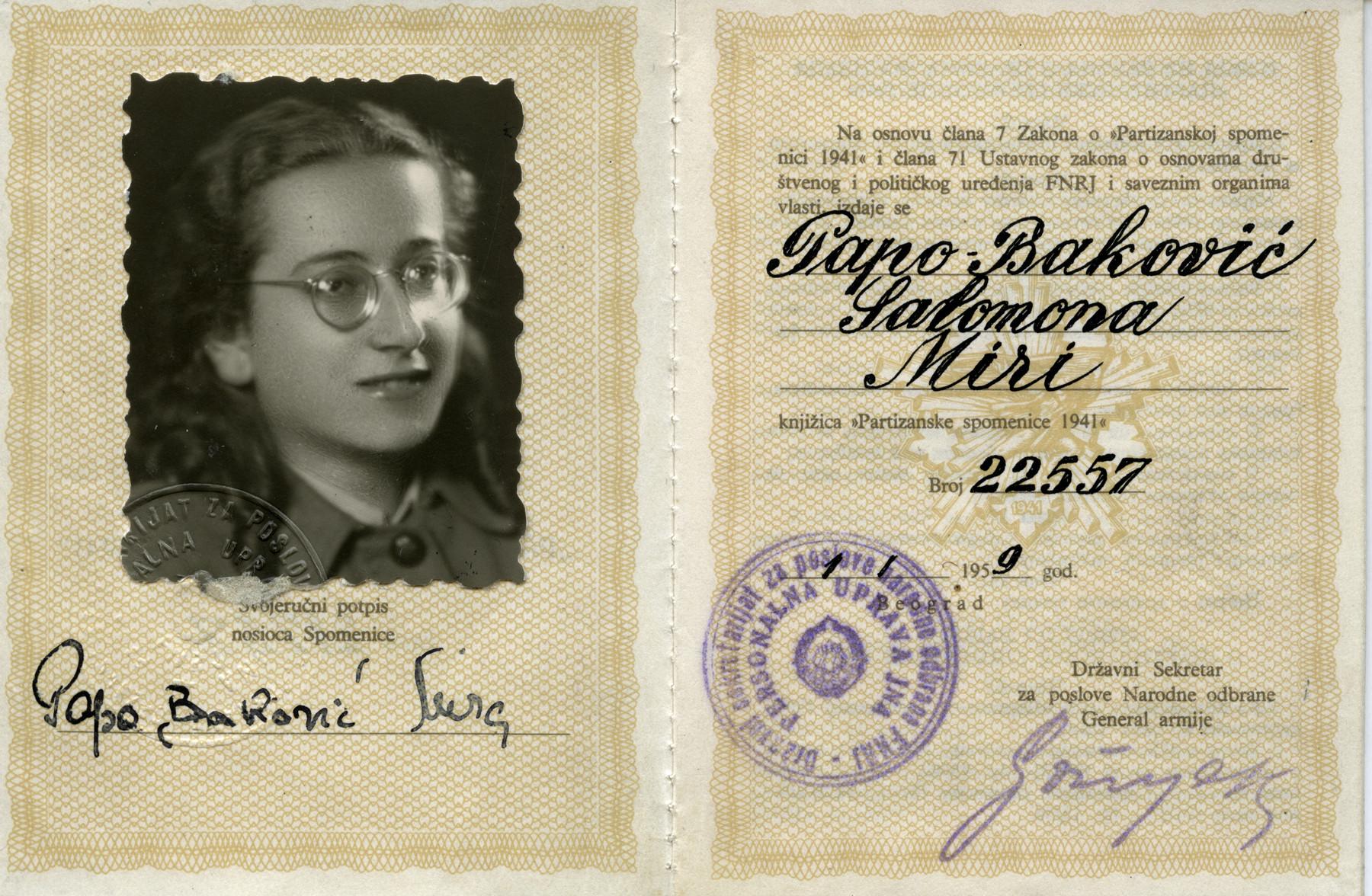 Donna Papo's postwar partisan certificate.