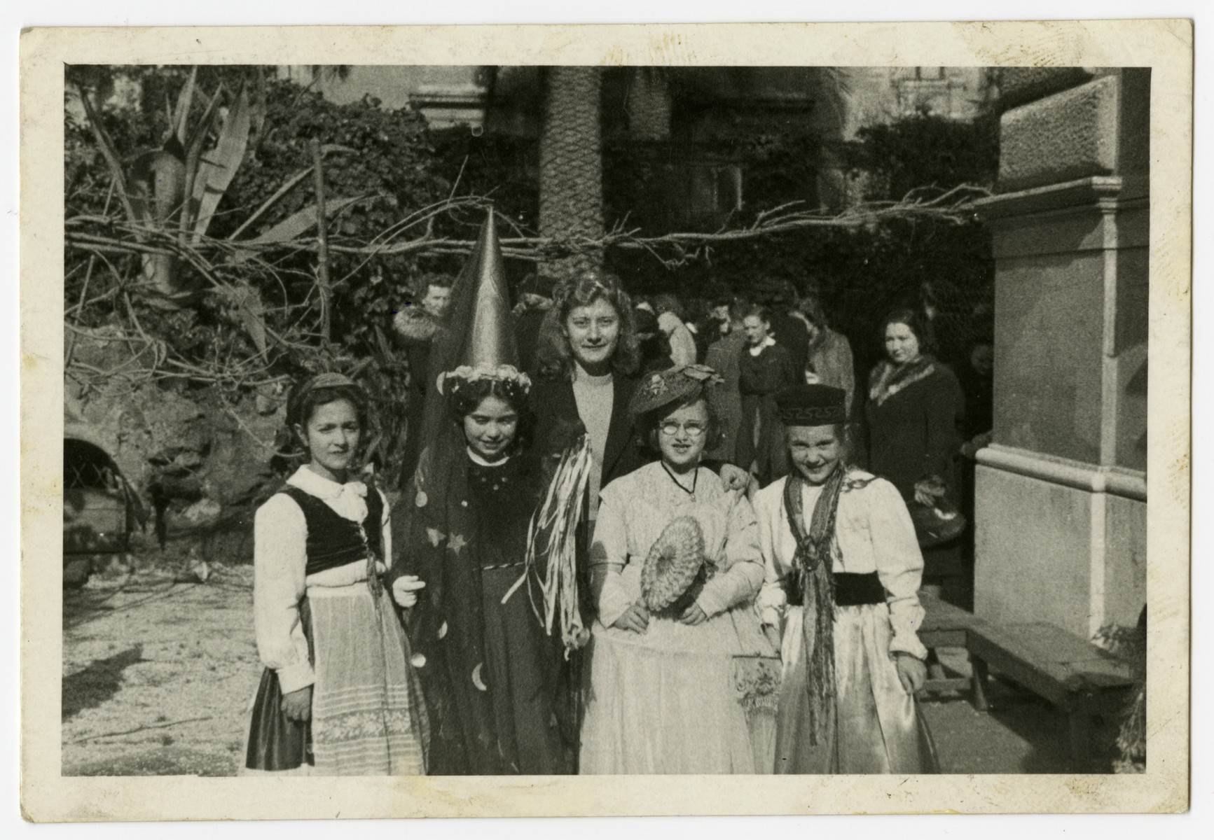 Lea Herlinger poses in costume with her friends while attending a convent school on false papers.