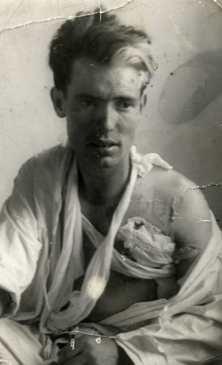 Portrait of a wounded Yugoslav partisan.  Pictured is Bozidar Bakovic, the future husband of Donna Papo.