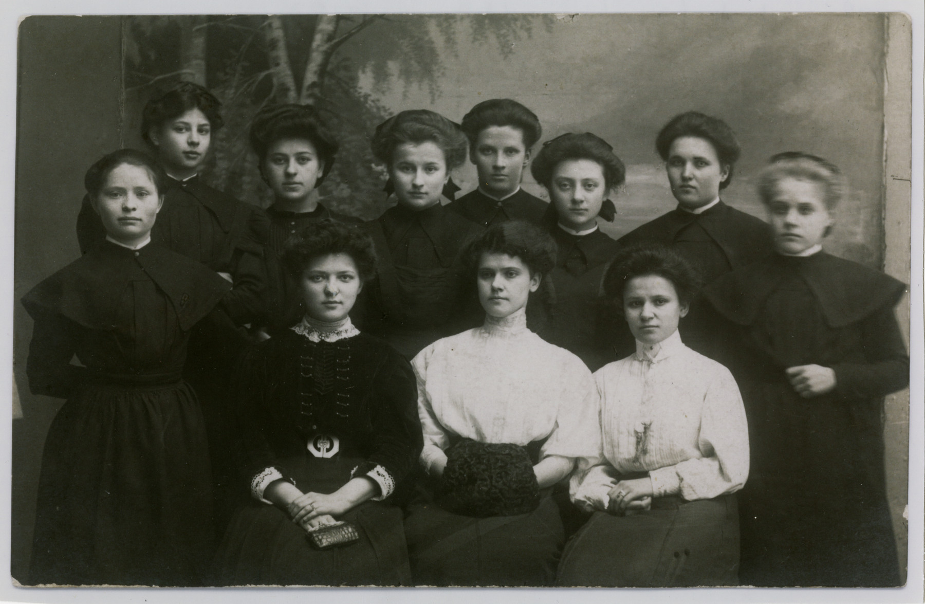 Group portrait of young women in the school for the deaf in Warsaw.  Rebecca Jaglom (Wajcblum) is standing third from the left.