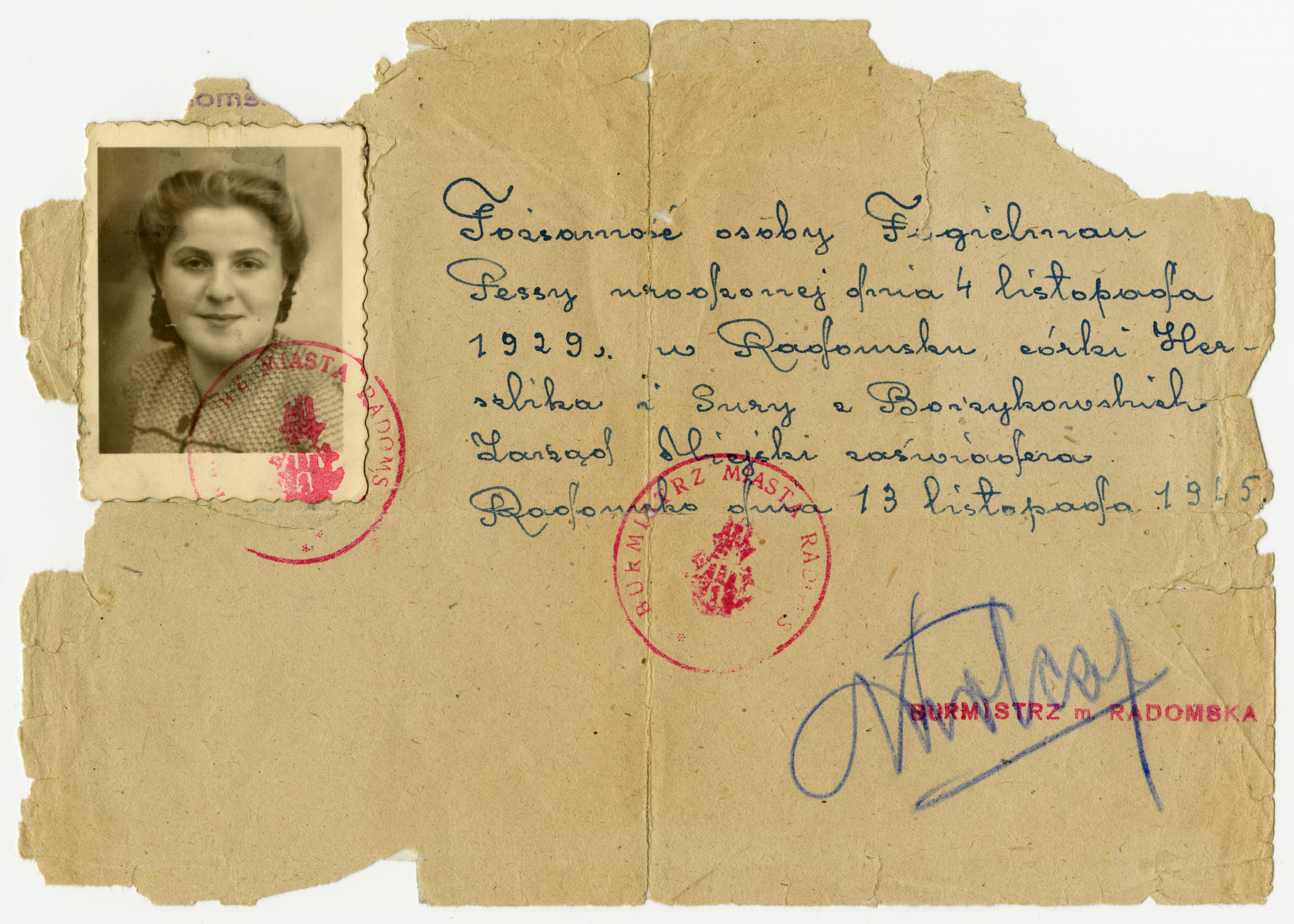 A post-war official Polish identification document issued to Pola Fogelman signed by the mayor of Radomsko.