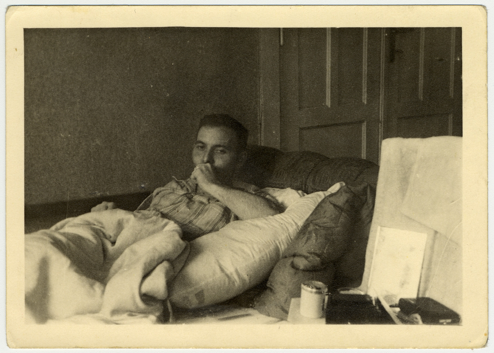 Close-up portait of a Jewish man recuperating after liberation in a sanatorium in Gauting.   Pictured is donor's husband, Pinchas Szwarc.