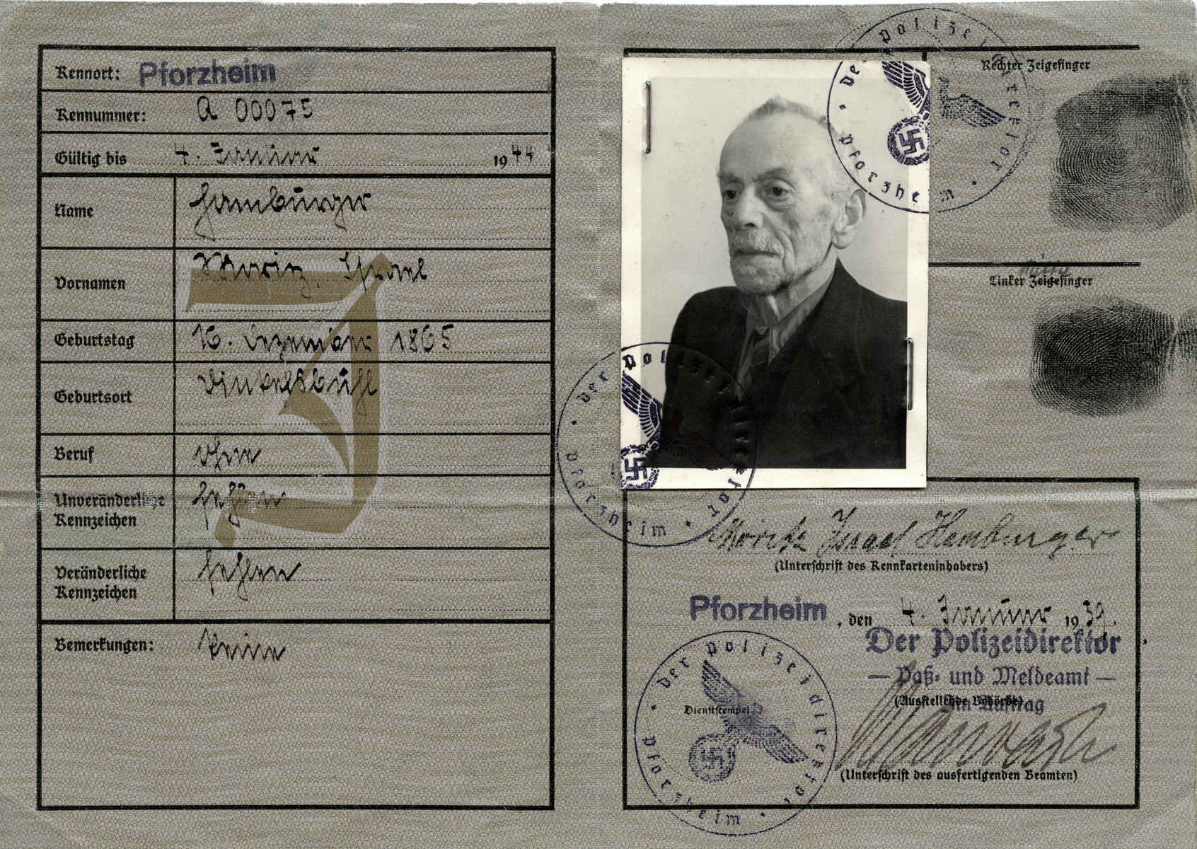 Identification card issued to Moritz Israel Hamburger.  He perished the following year in the Gurs concentration camp.