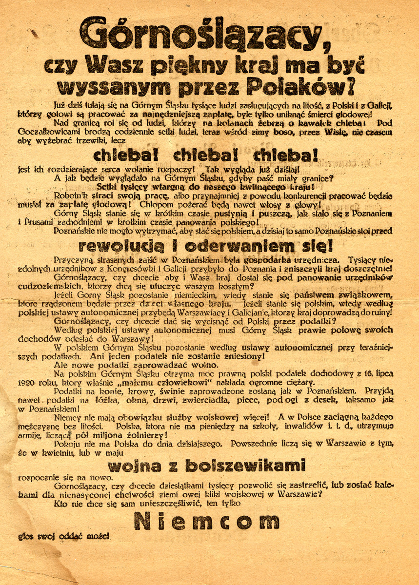 "Campaign poster in Polish for the plebiscite as to whether Upper Silesia should fall under Polish or German control.  This poster campaigns for German control.  It states ""Do you want the Poles to take over your beautiful region?  Vote for Germans."""