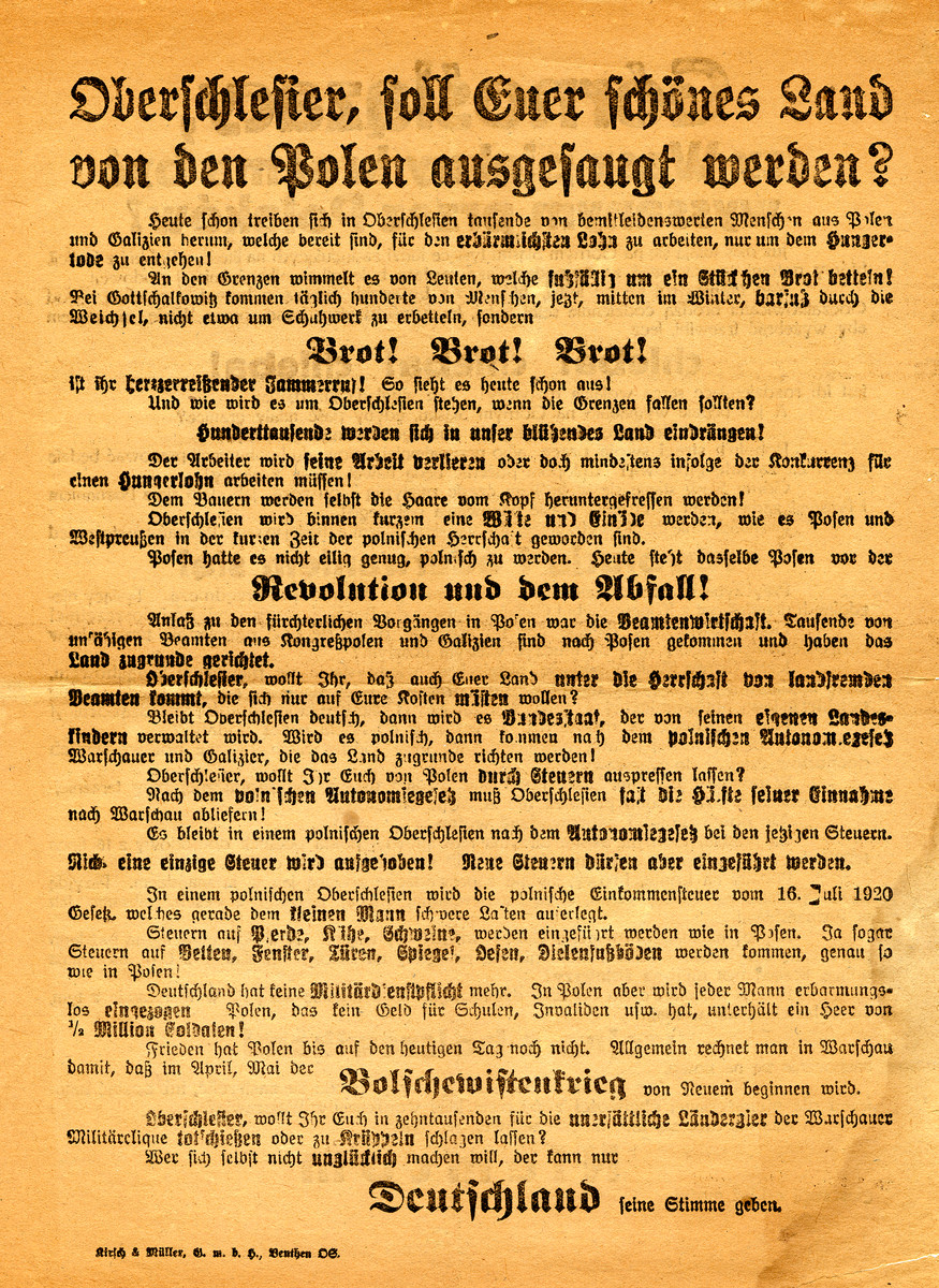"Campaign poster in German for the plebiscite as to whether Upper Silesia should fall under Polish or German control.  This poster campaigns for German control.  It states ""Do you want the Poles to take over your beautiful region?  Vote for Germans."""