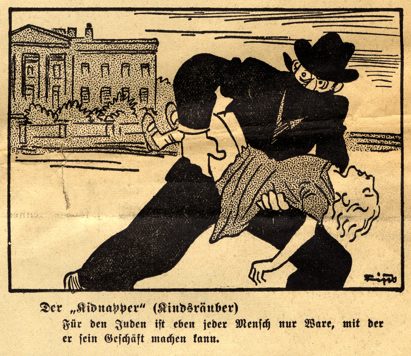 "Antisemitic cartoon entitled ""The Kidnapper"" drawn by Fips, the caricaturist for Der Stuermer."