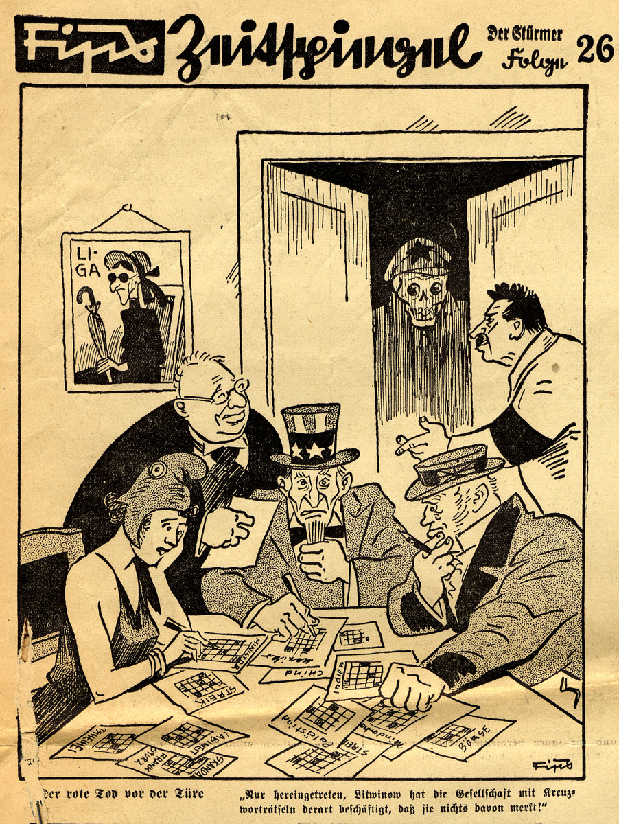 Antisemitic cartoon showing Jewish and Communist control of the western powers drawn by Fips, the caricaturist for Der Stuermer.