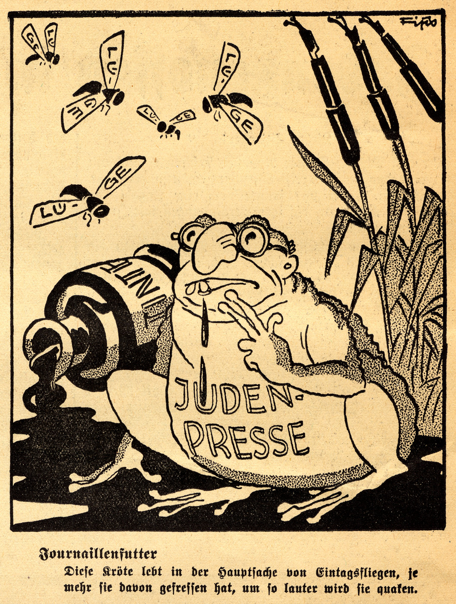 Antisemitic cartoon showing depicting the Jewish press as an overgrown bullfrog drawn by Fips, the caricaturist for Der Stuermer.