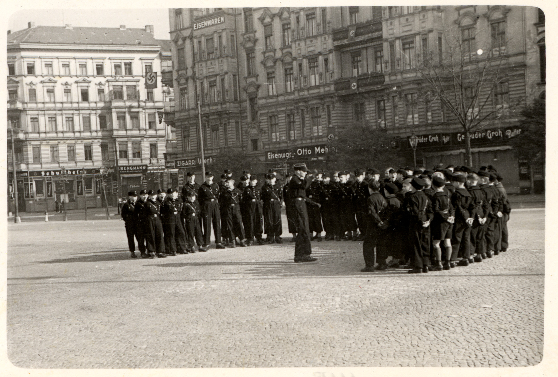 Hitler Youth gather on a street in Germany.    [This image from Berlin was found in the P-20-1939 contact book]