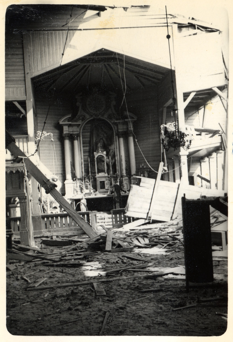 View of the interior of a bombed-out church in besieged Warsaw.