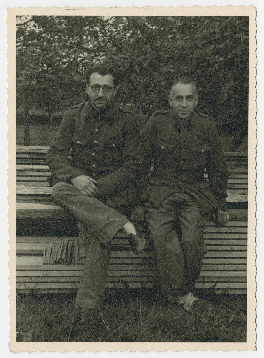 Close-up portrait of Jewish POWs Leopold Guttman (left) and Arnold Silberfeld (right) in Stalag 10 C.